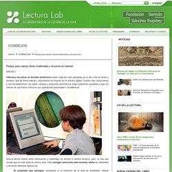 seleccionar lecturas, biblioteca, recursos digitales, recursos web, obras multimedia, internet, paginas web, promocion de la lectura, leitura, escuela