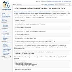 Seleccionar o referenciar celdas de Excel mediante VBA