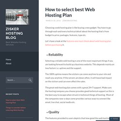 How to select best Web Hosting Plan
