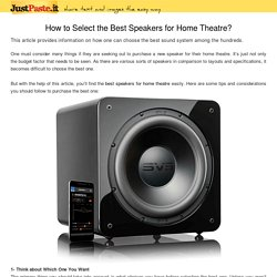 How to Select the Best Speakers for Home Theatre?