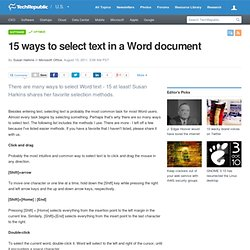 15 ways to select text in a Word document