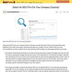 Select An SEO Firm For Your Company Carefully!