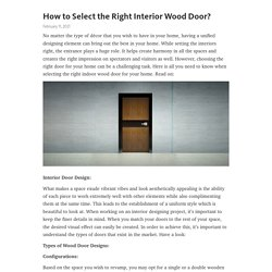 How to Select the Right Interior Wood Door?