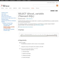SELECT @local_variable (Transact-SQL)