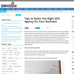 Tips to Select the Right SEO Agency for Your Business