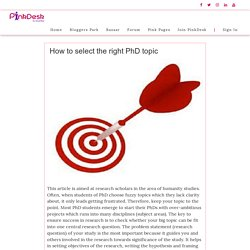 How to select the right PhD topic - Pinkdesk.org