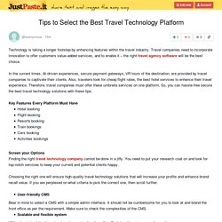 Tips to Select the Best Travel Technology Platform
