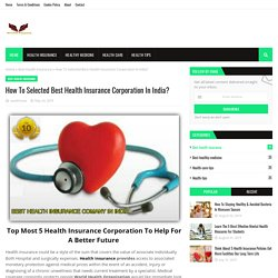 How To Selected Best Health Insurance Corporation In India?