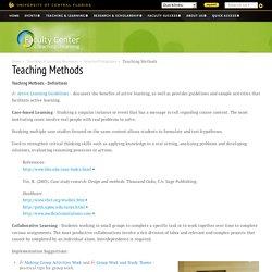 Selected Pedagogies: Teaching Methods