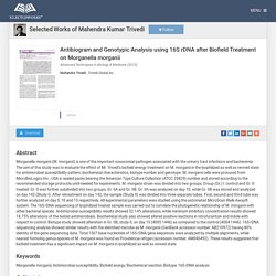 """Antibiogram and Genotypic Analysis using 16S rDNA after Biofield Treat"" by Mahendra Trivedi"