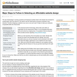 Major Steps to Follow in Selecting an Affordable website design