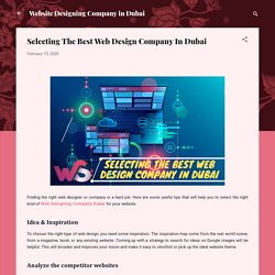 Selecting The Best Web Design Company In Dubai
