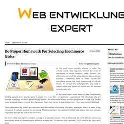 Do Proper Homework For Selecting Ecommerce Niche