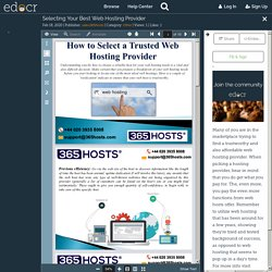Selecting Your Best Web Hosting Provider