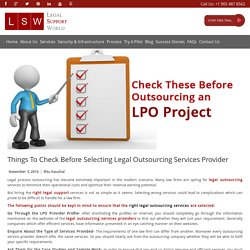 Think Before Selecting Legal Outsourcing Services Provider
