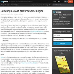Selecting a Cross-platform Game Engine