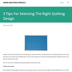 Select Best And Easy Hand Quilting Designs
