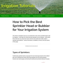 Selecting the Right Sprinkler Head