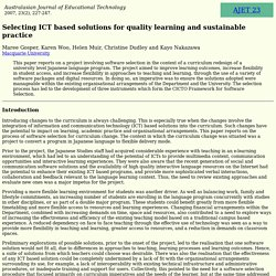 AJET 23(2) Gosper et al (2007) - selecting ICT based solutions for quality learning and sustainable practice