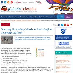 Selecting Vocabulary Words to Teach English Language Learners
