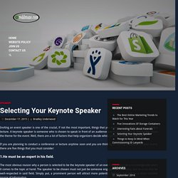 Selecting Your Keynote Speaker