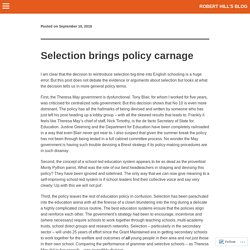 Selection brings policy carnage