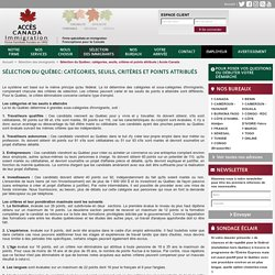Sélection du Québec: catégories, seuils, critères et points attribués