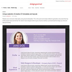 Unique selection of creative CV templates and layouts
