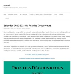 Sélection 2020-2021 du Prix des Découvreurs – ground
