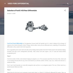 Selection of Ford E-450 Rear Differentials