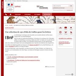 Une sélection de 150 ePubs de Gallica pour les lettres-Lettres-Éduscol