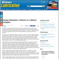 Grease Selection: Lithium vs. Lithium Complex