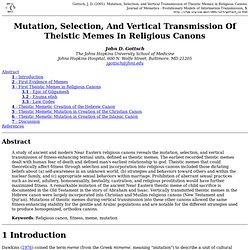 Mutation, Selection, and Vertical Transmission of Theistic Memes in Religious Canons