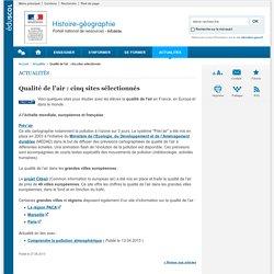 PAGE WEB (eduscol) : Qualité de l'air, 5 sites sélectionnés