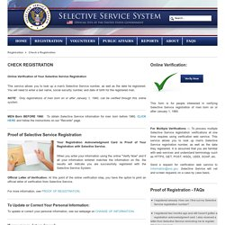 Selective Service Systems > Registration > Check a Registration