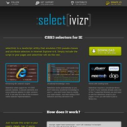 Selectivizr - CSS3 pseudo-class and attribute selectors for IE 6-8