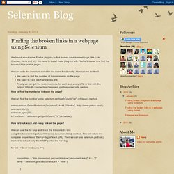 Selenium Blog: Finding the broken links in a webpage using Selenium