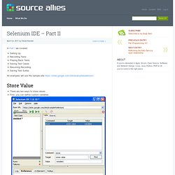Selenium IDE – Part II » Source Allies Blog