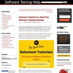 Selenium Tutorials: 31+ Best Free Selenium Training Tutorials