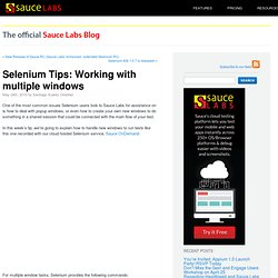 Selenium Tips: Working with multiple windows