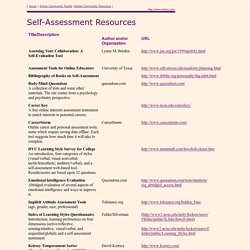 Self-Assessment Resources