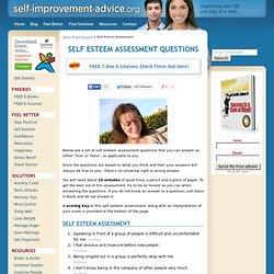 Self Esteem Assessment, Quiz For Self Esteem, Self Esteem Tests