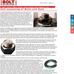 Self-Loosening of Bolts and Nuts