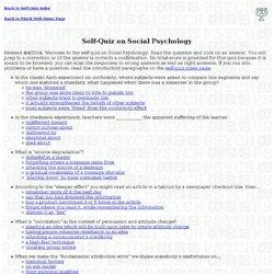Self-Quiz on Social Psychology