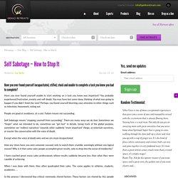 Self Sabotage- How to Stop It - True NLP