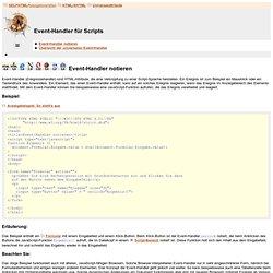 HTML/XHTML / Universalattribute / Event-Handler für Scripts