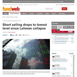 Short selling drops to lowest level since Lehman collapse