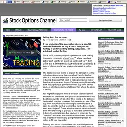 Selling Puts For Income