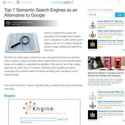 Semantic Search Engines As An Alternative To Google Search