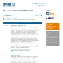 12 - Semantic Web in Libraries - Programme